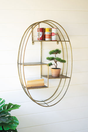 Oval Shelving Unit With Brass Finish