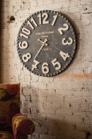 black and white wooden wall clock | farmhouse clock | farmhouse decor | oversized wall clock | shop a dash of casual home decor online or in store | Located inside the Corner Cartel in Boerne | best boerne shops for home decor vintage items accessories and gifts