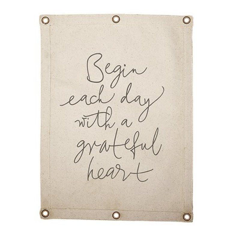 Grateful Heart Canvas Wall Banner