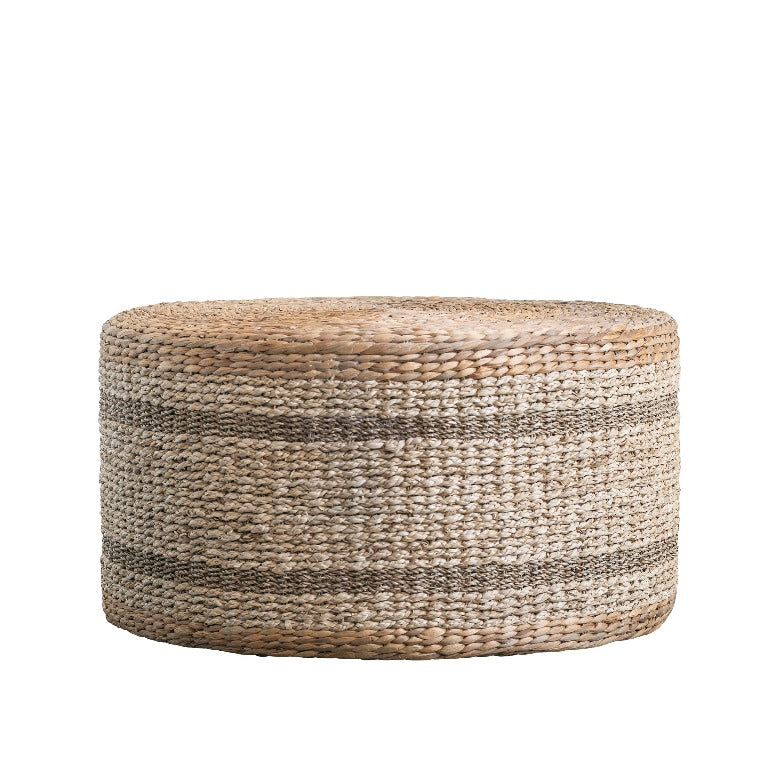 brown striped round water hyacinth & seagrass ottoman table | farmhouse decor | shop a dash of casual home decor online or in store | Located inside the Corner Cartel in Boerne | best boerne shops for home decor vintage items accessories and gifts