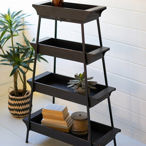 four tiered wood and iron display tower shelf | plant stand | farmhouse decor | modern farmhouse | rustic decor | shop a dash of casual furniture and home decor online or in store | Located inside the Corner Cartel in Boerne | best boerne shops for home decor vintage items accessories and gifts