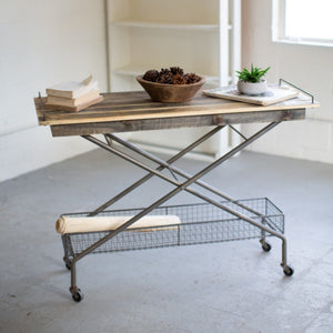 Recycled Wood Console Table With Metal Base, Basket, and Casters