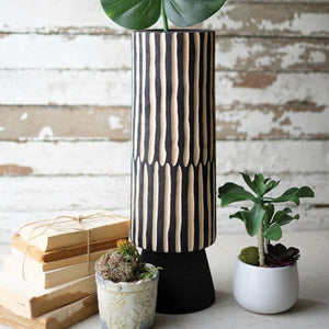 Tall Black Wooden Cylinder Vase