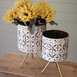 Set of 2 Metal Planters on Stands