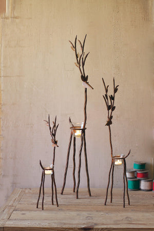 Set of 3 Rustic Iron Reindeer Tea Light Holders