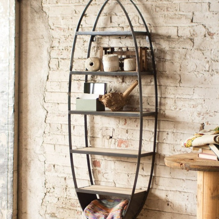 oval wall shelf | wood and metal bookshelf | modern farmhouse or urban furniture decor | shop a dash of casual furniture, home décor, kitchenware, gifts, and art online or in store | Located inside the Corner Cartel in Boerne | best boerne shops for home decor vintage items accessories and gifts