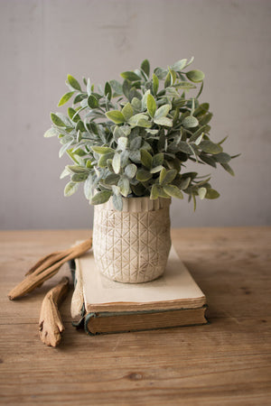 Artificial Sage Plant With Criss Cross Pot