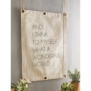 canvas wall banner what a wonderful world | wall art | home decor | farmhouse decor | shop a dash of casual home decor gift items online or in store | Located inside the Corner Cartel in Boerne | best boerne shops for home decor vintage items accessories and gifts
