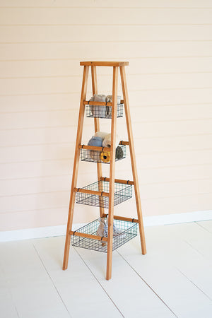 Wooden Ladder With Wire Baskets