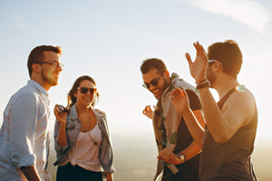 Group of friends laugh on Hike & Seek corporate day tours from Melbourne