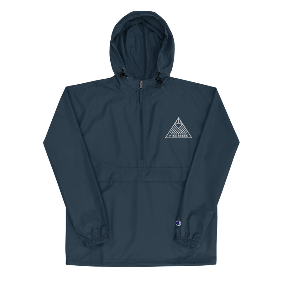 Hike & Seek logo navy waterproof hiking jacket for men and women