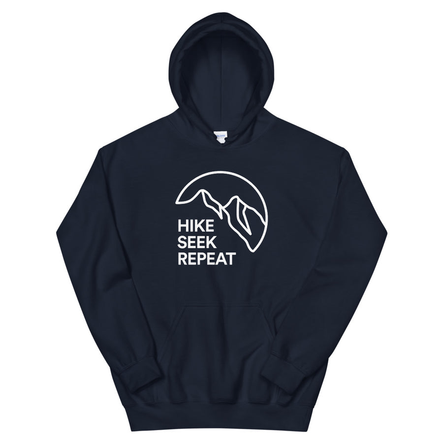 Hike & Seek hike seek repeat printed hiking inspired hoodie for men and women