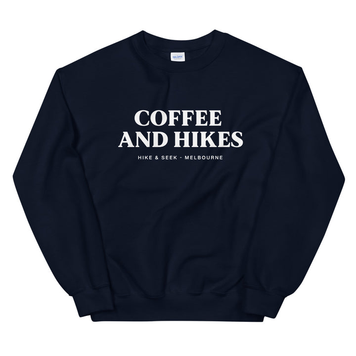 Hike & Seek coffee and hikes printed hiking inspired sweater for men and women