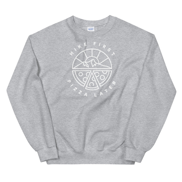 Hike & Seek hike first pizza later printed hiking inspired sweater for men and women