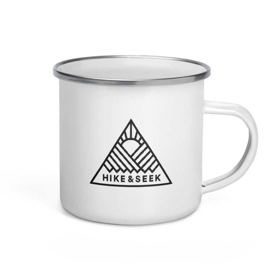 Hike & Seek printed white camping and hiking enamel mug