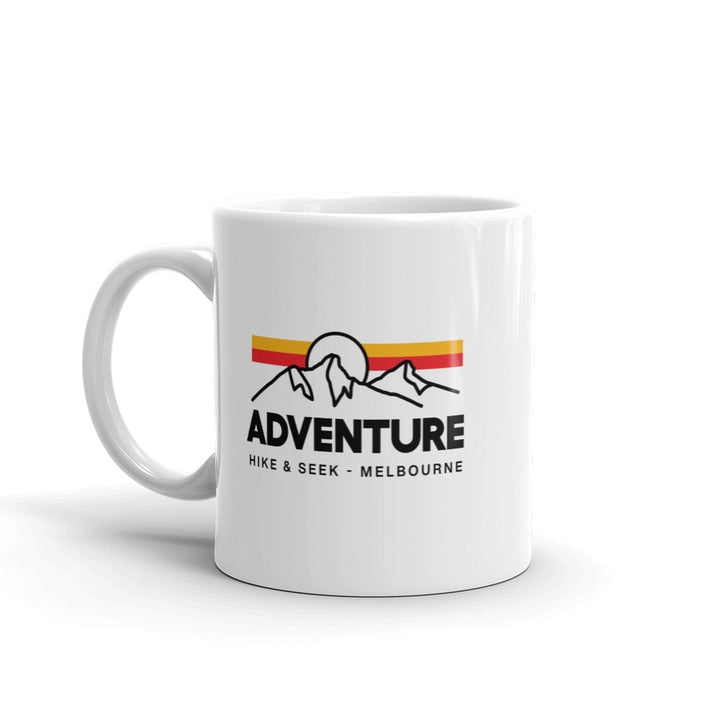 Hike & Seek white printed coffee mug