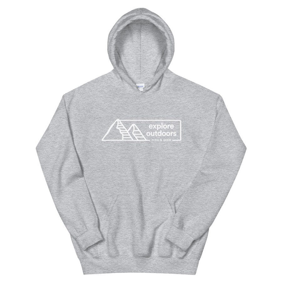 Hike & Seek explore outdoors printed hiking inspired hoodie for men and women