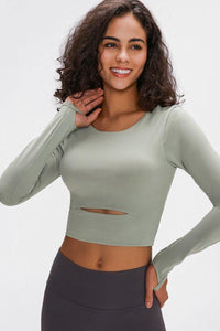 Shop Long Sleeve Cropped Top With Sports Strap - JOMOBabe Online Store | Women's Workout Clothes & Gym Wear | JOMOBabe