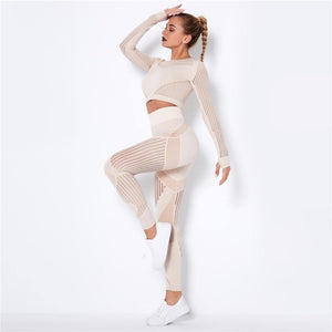 Hollow Out Seamless Yoga Set Sport Outfits Women Black Two 2 Piece Crop Top Bra Leggings Workout Gym suit Fitness Sport Sets