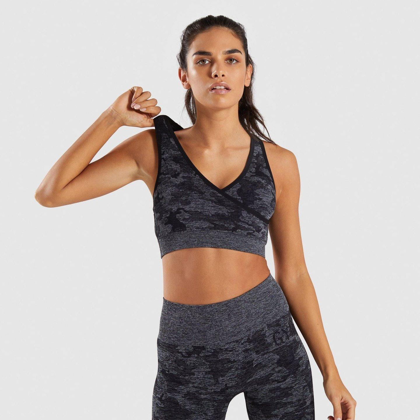 Shop Yoga Outfits 2 Piece Set Camo Seamless Leggings and Sports Bra Gym Exercise - JOMOBabe Online Store | Women's Workout Clothes & Gym Wear | JOMOBabe