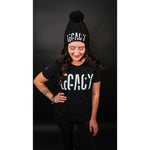 Load image into Gallery viewer, woman wearing black beanie with pompom