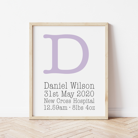 Personalised Birth Details Print