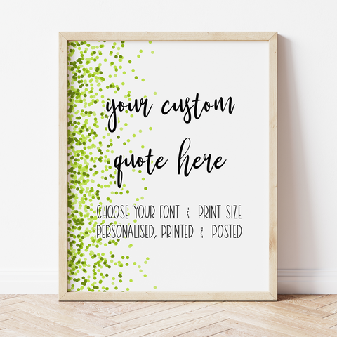 Custom Print with Lime Confetti Border