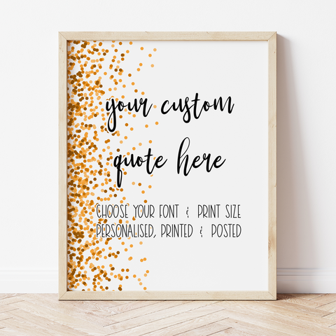 Custom Print with Orange Confetti Border