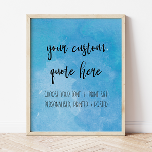 Custom Print with Blue Watercolour Background