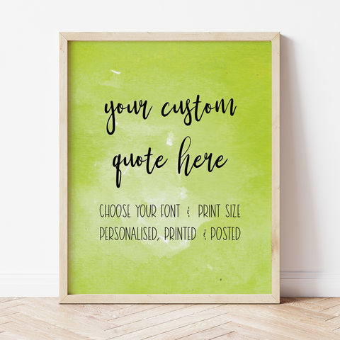 Custom Print with Lime Green Watercolour Background