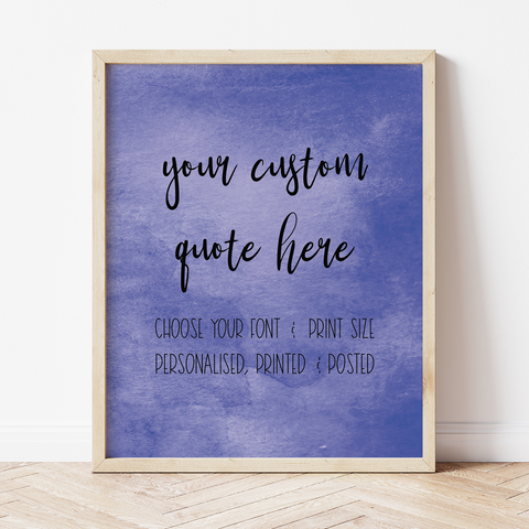 Custom Print with Navy Watercolour Background
