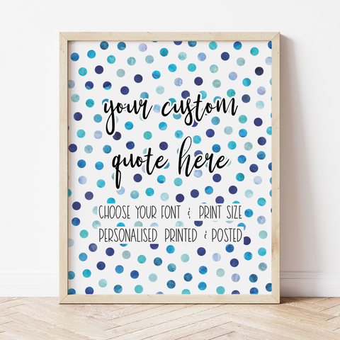 Custom Print with Navy Polka Dot Background
