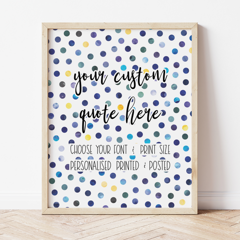 Custom Print with Navy and Yellow Polka Dot Background