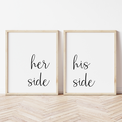 Her Side, His Side - Set of 2 Prints