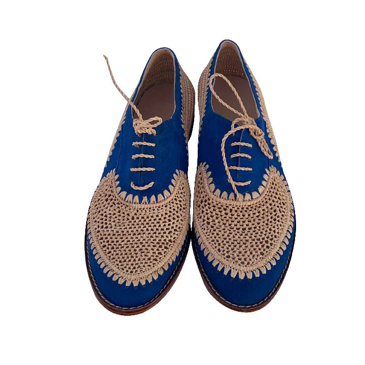 Blue moon derby raffia shoes