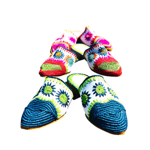 colorful oasis raffia shoes