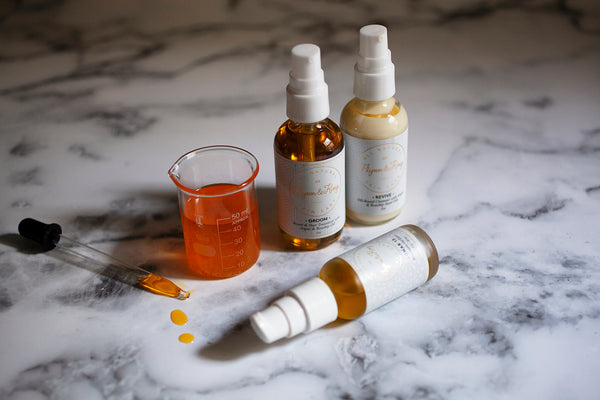 Flynn & King rosehip oil products: Revive Cleanser, Lunar 13 Restorative Serum, Groom Beard and Hair Treatment