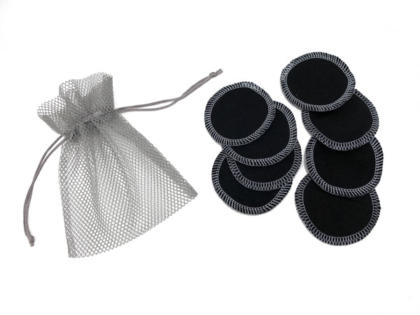 REUSABLE COTTON FLANNEL MAKEUP REMOVER ROUNDS - SET OF 8 WITH MESH BAG