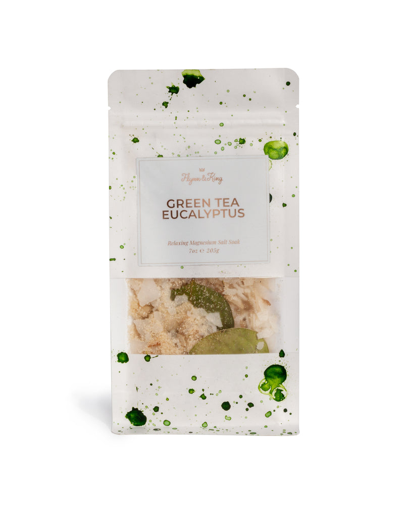 GREEN TEA EUCALYPTUS - Relaxing Magnesium Salt Soak 14oz