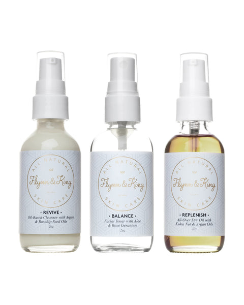 Weekender Set: Sampler of Travel Skin Care with Revive Oil-Based Cleanser, Balance Aloe and Rose Geranium Toner, and Replenish All-Over Oil with Argan and Kukui Nut Oils