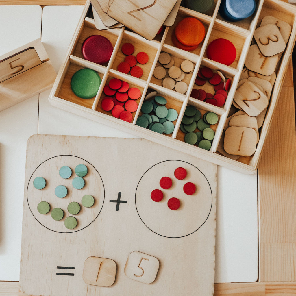 Double Sided Maths Board With counters and numbers - Learn Grow Play