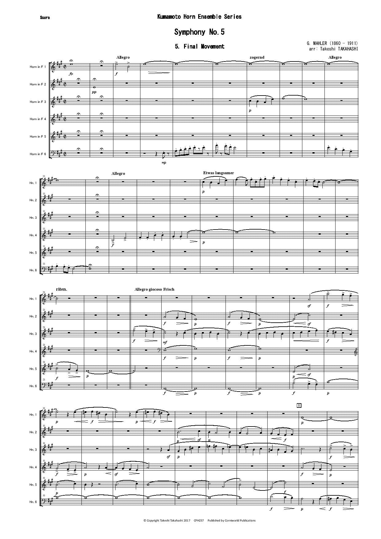 Final Mvt from Symphony No.5 (Mahler) CPH237