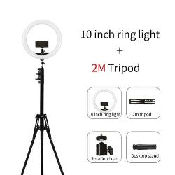 10 Inch Video 6500K LED Selfie Ring Light USB ring lamp Photography Light with Phone Holder 2M tripod stand for Makeup Youtube