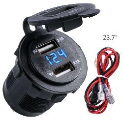 4.2A Waterproof Dual USB Charger Socket Power Outlet with Voltmeter LED light