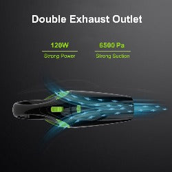 6500Pa Powerful Wireless Car Vacuum Cleaner Portable Handheld 120W USB Cordless Wet&Dry Use Rechargeable Home Car Vacuum Cleaner
