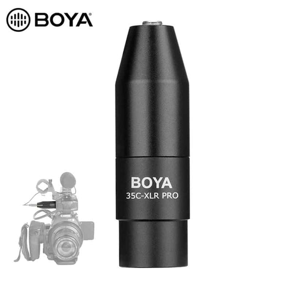 BOYA 35C-XLR 3.5mm (TRS) Mini-Jack Female Microphone Adapter to 3-pin XLR Male Connector for Sony Camcorders Recorders & Mixers