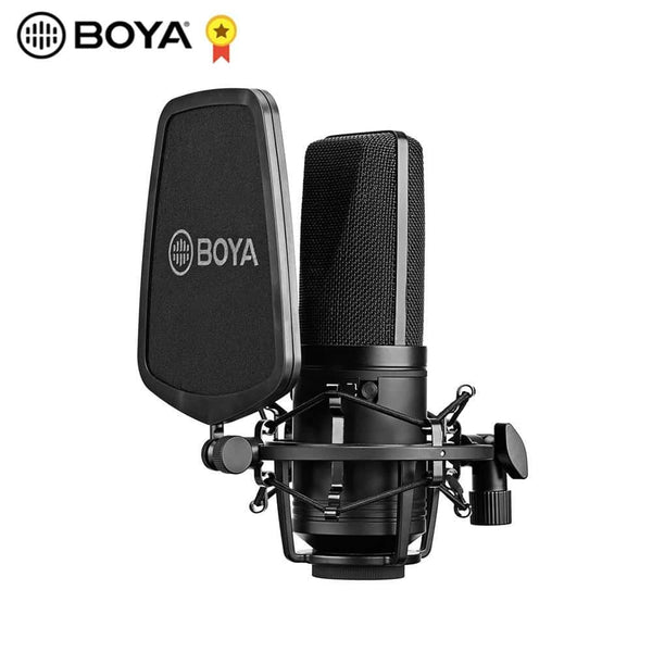 BOYA BY-M1000 Condenser Microphone Large Diaphragm 3 Polar Patterns for Singer Songwriter Podcaster Voiceover Artist Studio Mic