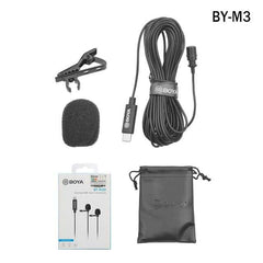 BOYA BY-M2 /M2D /M3 /M3D Lavalier Lapel mini Omnidirectional Double Head Microphone For iPhone iPad laptop IOS Android device