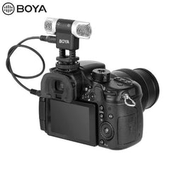 BOYA BY-MM3 Dual Head Stereo Recording Condenser Microphone for iPhone 8 Android Smartphone DSLR Camera DV Livestreaming Video