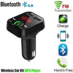 Bluetooth 5.0 FM Transmitter Car MP3 Player Dual USB 2.1A Fast Charger Car Music Player  FM Modulator Audio Frequency Radio
